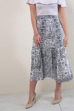Reyon Kadın Lacivert Desenli Uzun Etek 0