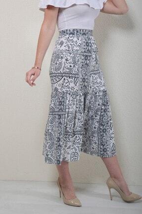 Reyon Kadın Lacivert Desenli Uzun Etek 1