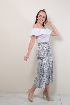 Reyon Kadın Lacivert Desenli Uzun Etek 2