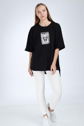 Millionaire Kadın Siyah Yırtmaçlı Kuru Kafa Baskılı Oversize Tshirt 3