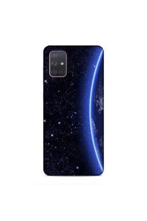 Pickcase Samsung Galaxy A71 Desenli Dünya ve Yıldızlar Arka Kapak 0