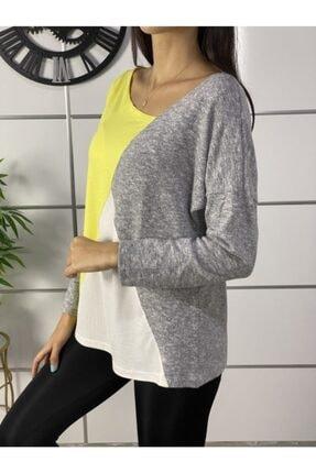 ELBİSENN Kadın Sarı Yeni Model Asimetrik Yaka Bloklu Bluz 1