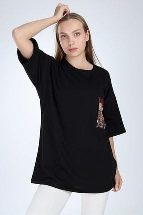 Millionaire Siyah Harlem Baskılı Oversize T-shirt 2