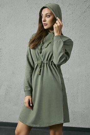 Sateen Kadın Haki Kapüşonlu Sweat Elbise 1
