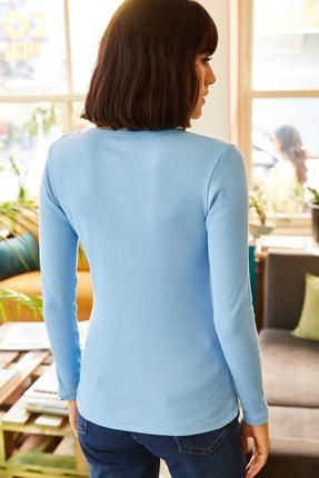 Olalook Kadın Bebe Mavi Patlı Kaşkorse Bluz BLZ-19000588 3