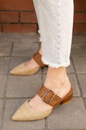 Straswans Kadın Taba Hasır Topuklu Ayakkabı 2