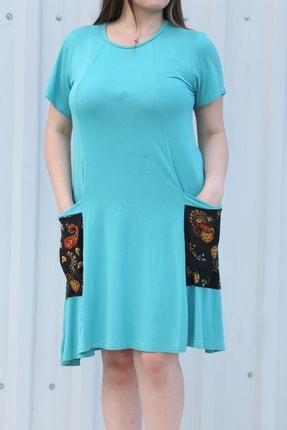 MGS LİFE Kadın, Renkli Cep Detaylı, Turkuaz Renkli, Büyük Beden Yazlık Elbise 1
