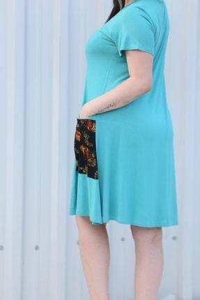 MGS LİFE Kadın, Renkli Cep Detaylı, Turkuaz Renkli, Büyük Beden Yazlık Elbise 2
