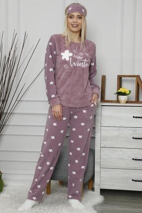 Pijamaevi Mor Hello Winter Desenli Kadın Peluş Pijama Takımı 1
