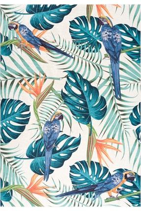 Caretta Home Dijital Baskılı Kaymaz Taban Yıkanabilir Papağan Yaprak Desenli Halı Kilim 1
