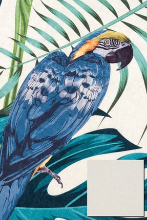 Caretta Home Dijital Baskılı Kaymaz Taban Yıkanabilir Papağan Yaprak Desenli Halı Kilim 3