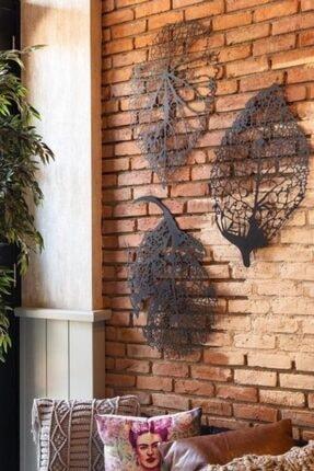 VOİVA Son Bahar 3'lü Siyah Yaprak Ahşap Tablo Büyük Boy Dekorasyon Salon Ofis Şık Tasarım Leaf Dekoratif 1