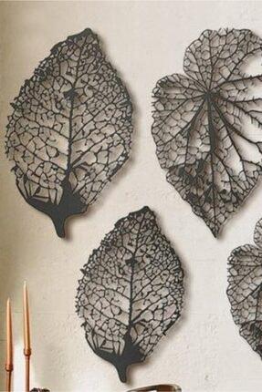 VOİVA Son Bahar 3'lü Siyah Yaprak Ahşap Tablo Büyük Boy Dekorasyon Salon Ofis Şık Tasarım Leaf Dekoratif 3