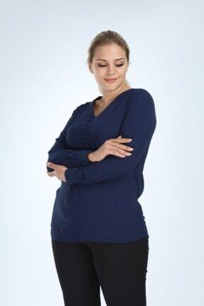 Lir Kadın Lacivert Büyük Beden Uzun Kol Düğmeli Bluz 1