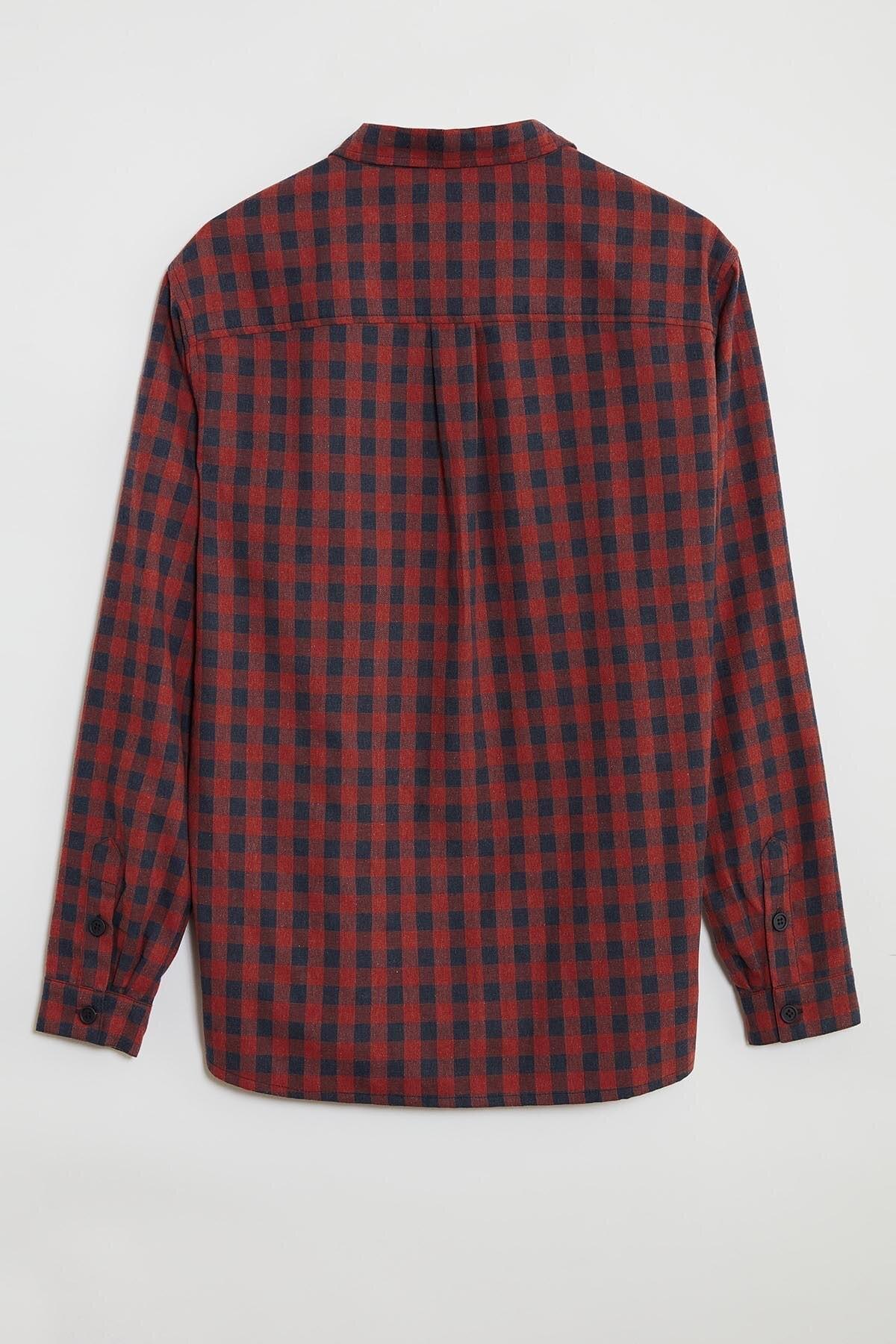 GRIMELANGE BRETT Erkek Kırmızı Kareli Regular Gömlek 3