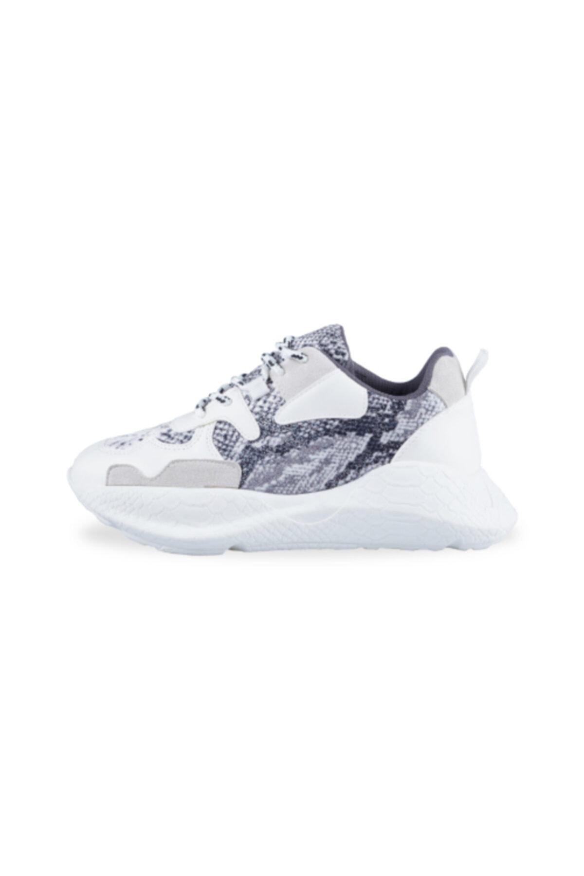ebbete Kadın Beyaz Yılan Spor Ayakkabı