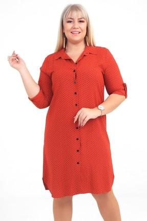 Picture of Kadın Kiremit Puantiyeli Viskon Büyük Beden Gömlek Elbise S-20Y3570011