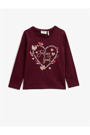Koton Kız Çocuk Bordo T-Shirt 0