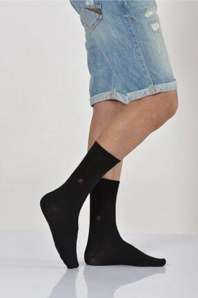 4'lü Paket - Mıkro Motifli Erkek Soket Çorabı - Siyah E-art226 E-ERK226-41