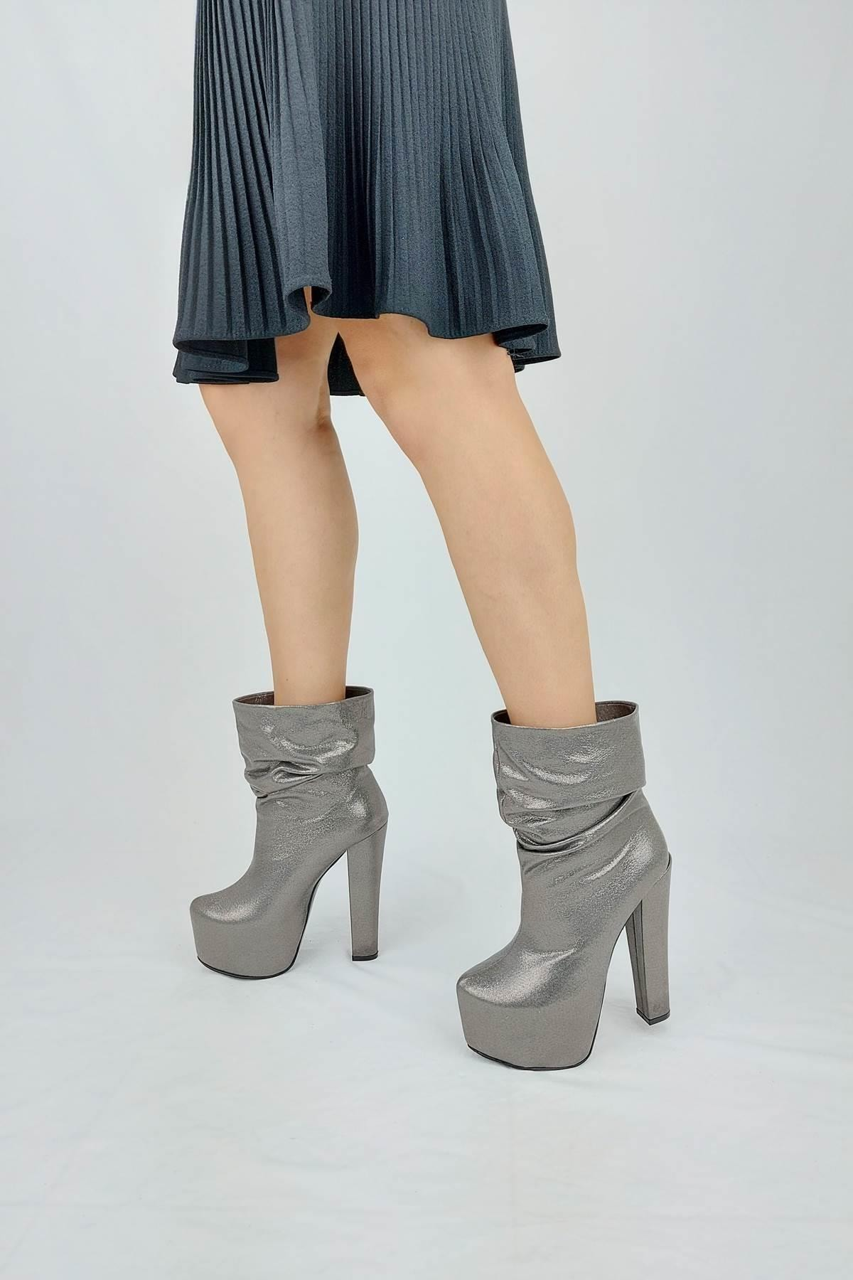 Ayakkabı Ateşi Kadın Platin Vagun Sultan Yüksek Topuklu Bot