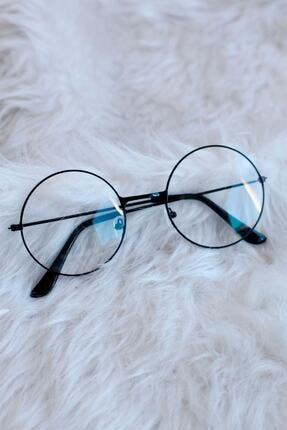 THE RİCHEST Unisex Siyah Yuvarlak Şeffaf Gözlük 0
