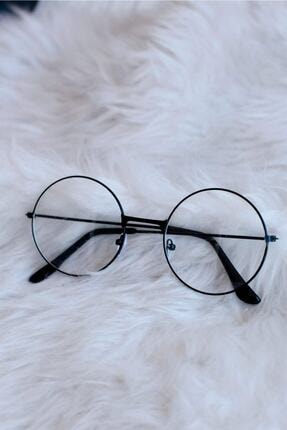 THE RİCHEST Unisex Siyah Yuvarlak Şeffaf Gözlük 1