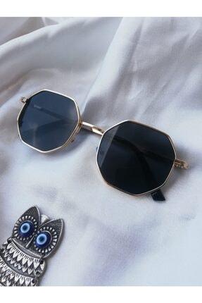 ONNObutik Unısex Altın Renk Geometrik Çerçeveli Siyah Güneş Gözlüğü 1
