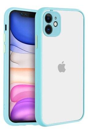 """Teknoçeri Iphone 11 6.1"""" Kenarları Renkli Kamera Korumalı Transparan Kılıf 0"""
