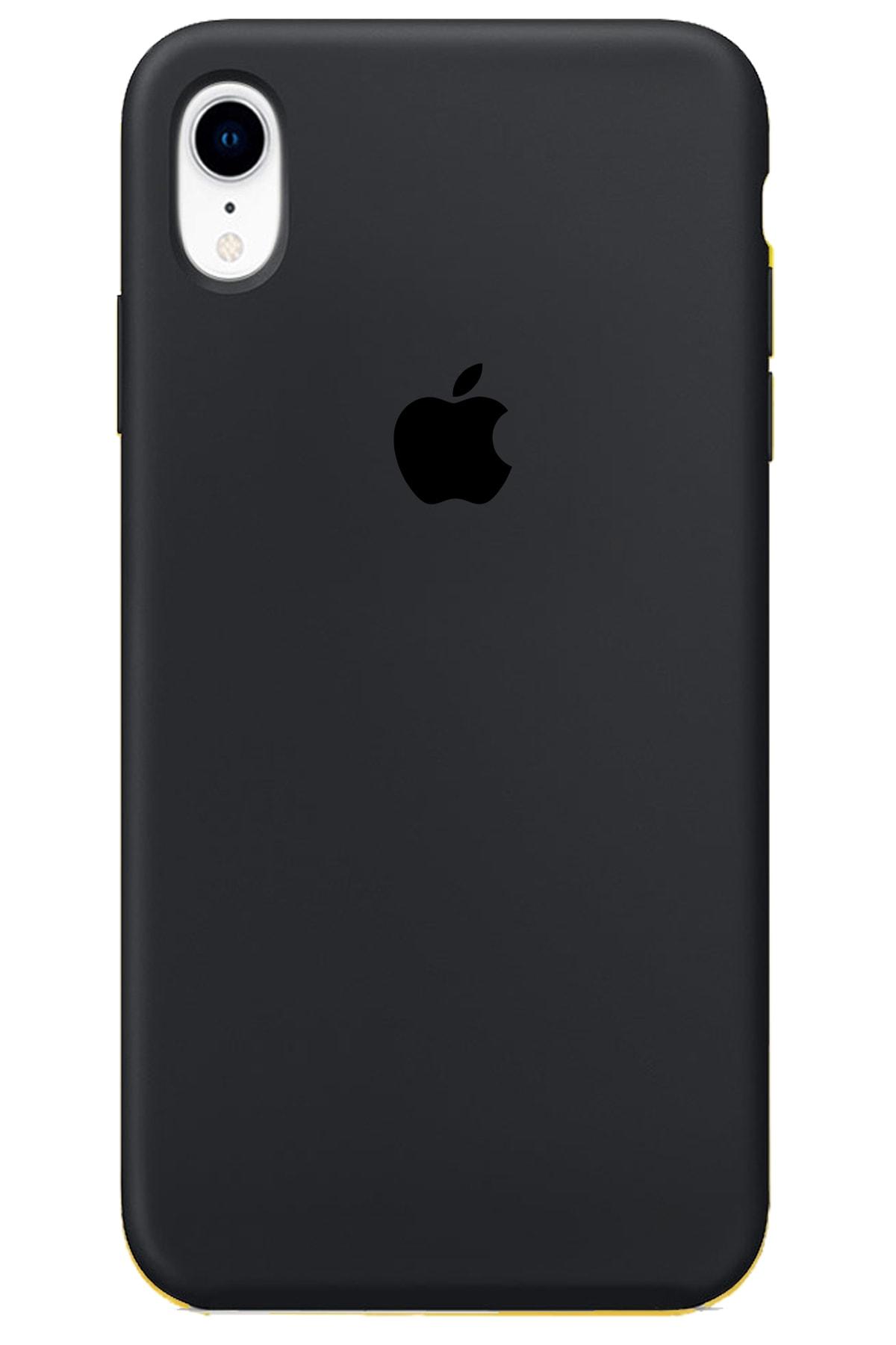 Iphone Xr Kılıf Logolu Lansman Altı Kapalı Içi Süet - Siyah + Popsocket