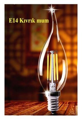 LAMBAM Rustik Led Ampul 4w E14 Ince Duy Gün Işığı 2700k 10 Adet Kıvrık Mum Ampul 2
