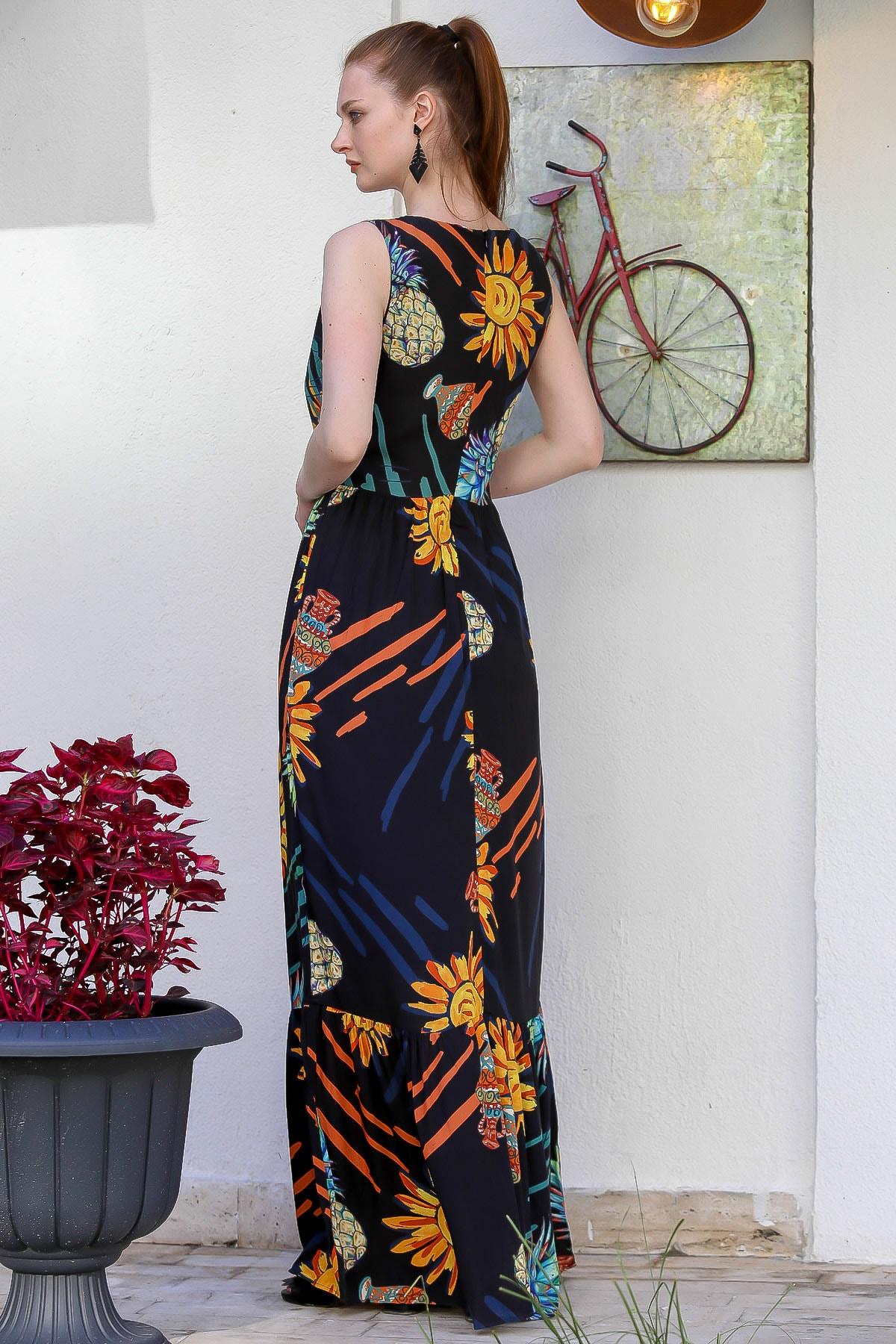Chiccy Kadın Siyah Sıfır Yaka Ananas Desenli Astarlı Fermuarlı Dokuma Uzun Elbise M10160000El94772 4