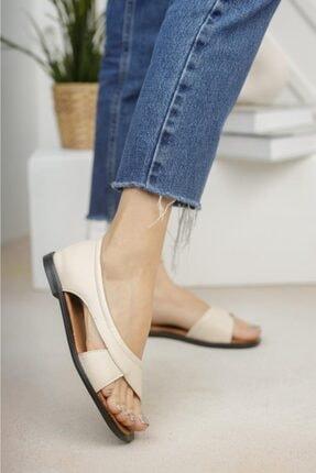 Moda Frato Kadın Krem Açık Sandalet Yazlık Ayakkabı Babet 1