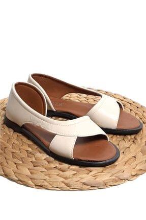 Moda Frato Kadın Krem Açık Sandalet Yazlık Ayakkabı Babet 3