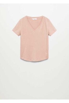 Mango Kadın Şeftali V Yakalı Pamuklu Tişört 2
