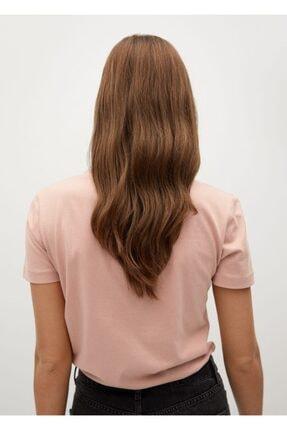 Mango Kadın Şeftali V Yakalı Pamuklu Tişört 3