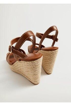 Mango Dolgu Topuklu Çizgili Sandalet 3