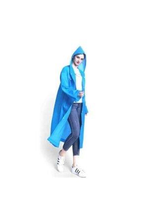 Unisex Kapşonlu Yağmurluk Çıtçıtlı Yağmurluk Mavi Yağmurluk TYC00173684356