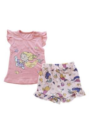 Yazlık Pullu Deniz Kızı Baskılı Pamuklu 2'li Şort Ve Omuzdan Çıtçıtlı T-shirt Kız Bebek Takım ne212210