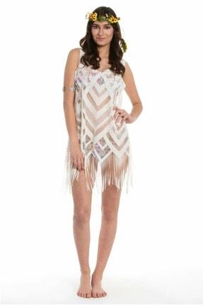 Sanriani Plaj Elbisesi Ekru - Deniz Elbisesi, Plaj Giyim Modeli ING1026-A