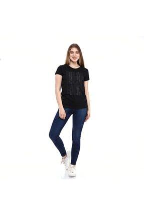 Baskılı Kadın T-shirt Afun Siyah resmi