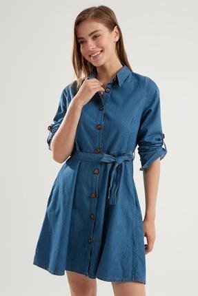 Pattaya Kadın Kuşaklı Mini Kot Gömlek Elbise Ptty20s-9924 1