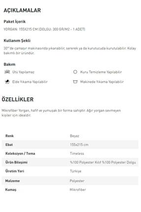 English Home Daily Mikrofiber Tek Kişilik Yorgan 155x215 Cm Beyaz 1