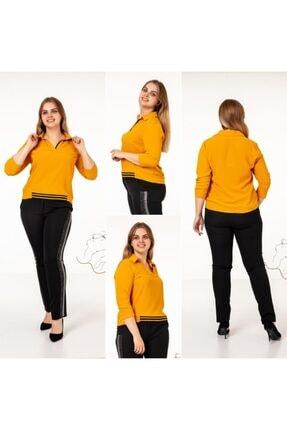 Büyük Beden Şerit Detaylı Altın Sarısı Bluz fıkırfıkır0095