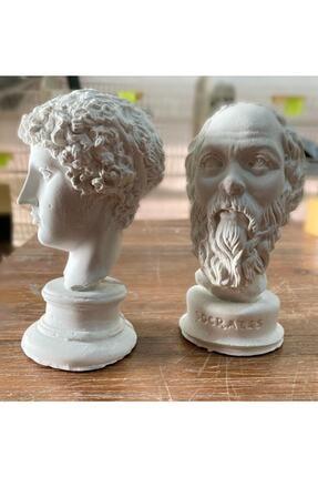 Elver Atolye Beyaz Hermes ve  Socrates Heykel Büst 2'li 1