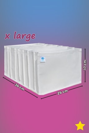 MİA Home Production Beyaz - X Large Boy / 8 Gözlü Çekmece Düzenleyici - Cepli Organizer - Akordiyon Düzenleyici 3
