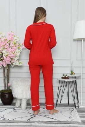 ASL Kadın Kırmızı Renk Pamuklu Pijama Takımı 1