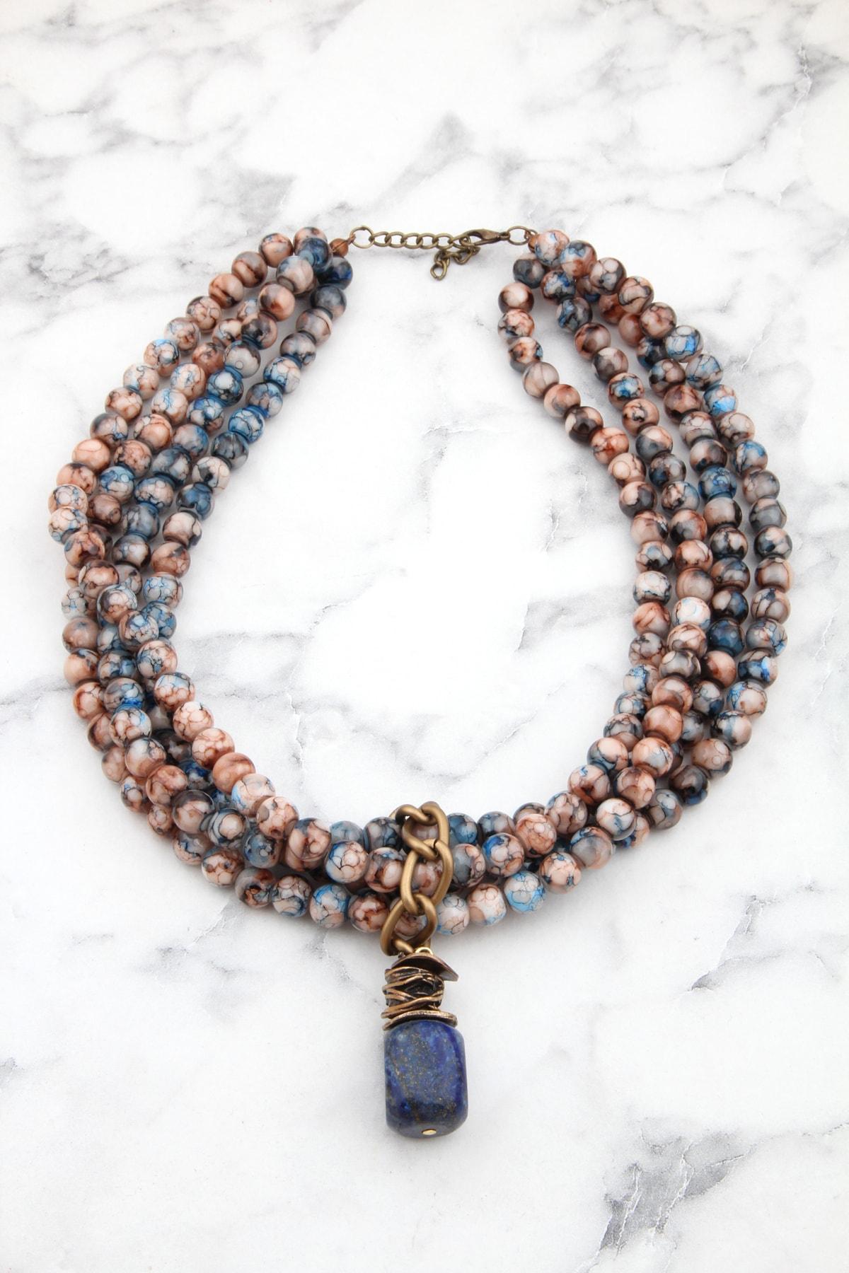 Lacivert Lapis Lazuli Doğaltaşlı Çoklu Tasarım Kolye