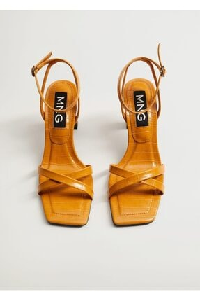 Mango Kadın  Timsah Derisi Desenli Topluklu Sandalet 3