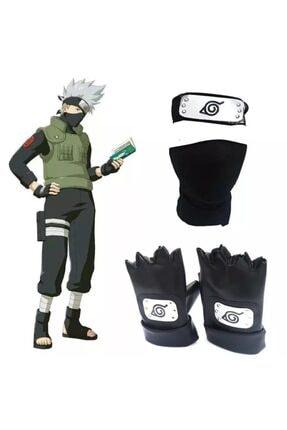 تصویر از Anime Naruto Hapyto Hatake Kakashi Kafa Bandı Yüz Maskesi Eldiven Seti