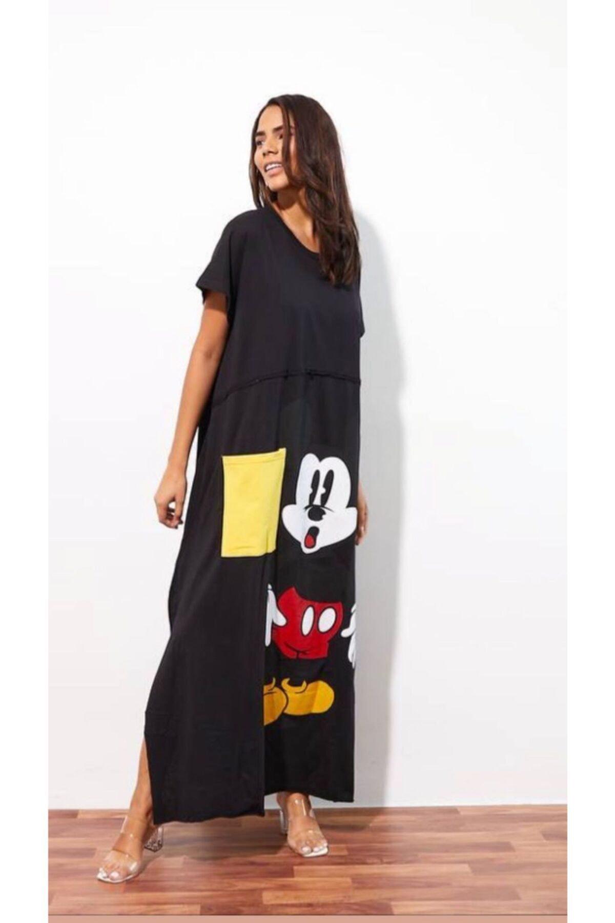 Kadın Siyah Oversize Maxi Boy Elbise